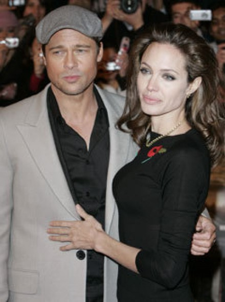 Marie Claire celebrity photos: Brad Pitt and Angelina Jolie at the premiere of Beowulf