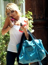 Nicole Richie aout and about carrying a Balenciaga Lariat