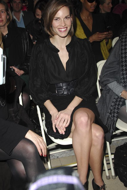 Marie Claire celebrity photos: Hilary Swank front row at Jill Stuart A/W 2008