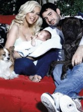 Christina Aguilera, baby Max Liron and Jordan Bratman-Hello