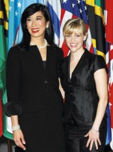 Andrea Jung and Reese Witherspoon at the UNIFEM and AVON press conference