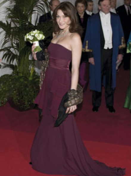 Carla Bruni at the Guildhall state banquet