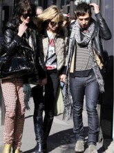 Kate Moss in Paris with boyfriend Jamie Hince and his bandmate Alison Mosshart
