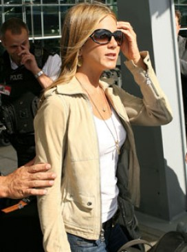 Marie Claire celebrity news: Jennifer Aniston at Heathrow airport