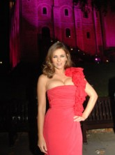 Marie Claire celebrity news: Elizabeth Hurley at Estee Lauder's Global Lighting Initiative for Breast Cancer Awareness