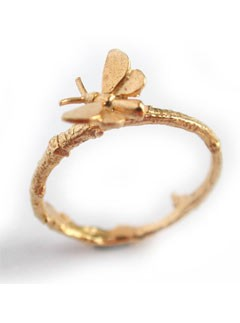 Alex Monroe Tiny Butterfly Twig Ring