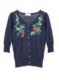 Pret a Portobello Gia Navy Embroidered Cardigan
