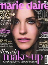 February Marie Claire Cover, Courtney Cox
