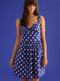 Dorothy Perkins Blue spot sweetheart dress