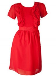Joy Red Frill Pocket Dress