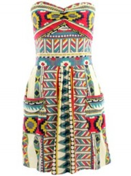 Missguided Jasmine Tribal Print Strapless Dress