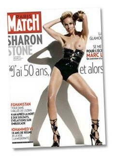 Sharon Stone, Topless Photo on cover of paris match