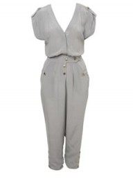 Miss Selfridge grey silk jumpsuit