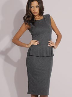 Mango Shoulder Pad Peplum Dress