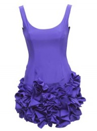 ASOS Black purple ruffle hem dress