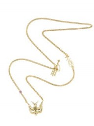 Zoe & Morgan Gold Swallow Pink Sapphire Necklace