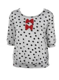 Topshop Spotty Bow Jacquard Top