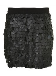 Topshop Leather Sequin Mini Skirt