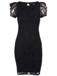 Dorothy Perkins Black lace power sleeve dress