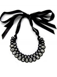 Bags of Sparkle Intricate Woven Velvet Statement Necklace