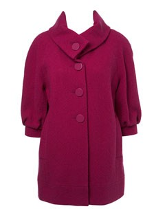 Miss Selfridge Magenta Balloon Sleeve Coat