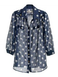 Reiss dotty full button blouse