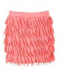 A Wear Peach Feathered Satin Skirt