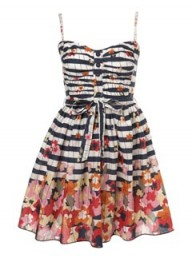 Miss Selfridge Floral Stripe Prom Dress