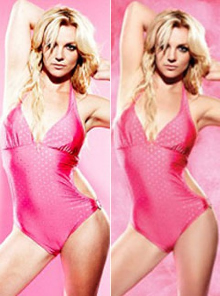 Before and After: Britney Spears' airbrushed Candies ads - Retouched, untouched, pictures, advert - Maire Claire
