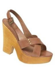 Next Tan '70s Wood Wedge Slingbacks