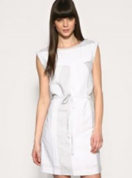 Gap Mixed Stripe Tie Belt Linen Mix Dress