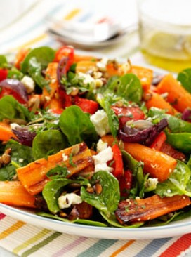 Roasted Carrot, Spinach and Feta Salad - Recipes - Lifestyle - Marie Claire
