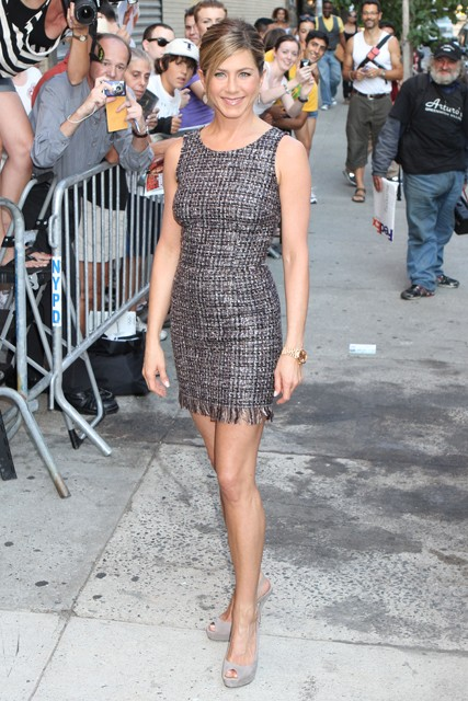 Jennifer Aniston continues her style parade promoting The Switch - Good Morning America, Live with Regis &amp; Kelly, Chelsea Lately, american, US, tv, show, celebrity, news, gossip, Marie Claire