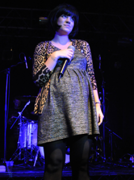 Lily Allen and baby bump hit the stage - London, Koko, pregnant, heavily, blooming, Professor Green, see, pics, pictures, performs, performance, sings, celebrity, news, Marie Claire