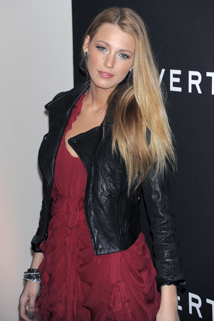 Blake Lively - Everyone&#039;s wearing leather - Stars, celebrities, in, love, trend, leather jacket, leather skirt, leather dress, fashion, Marie Claire