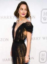 Leighton Meester in a lace jumpsuit at the Harry Winston party