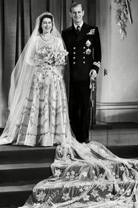 Queen Elizabeth II and Prince Phillip - Iconic Royal Weddings - Lifestyle, gallery, see, pics, pictures, wedding dress, prince, princess, engagement, nuptials, Marie Claire