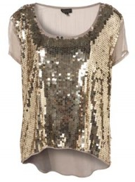 Topshop Sage Oversize Sequin Front Drop Back Tee