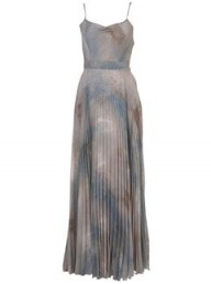 Topshop Grey Skeleton Leaf Print Pleated Maxi Dress