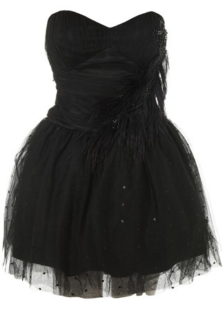 Miss Selfridge black feather dress, £110 - Little Black Dresses, LBDs, best, style, fashion, shopping, christmas, party, ideas, inspiration, Marie Claire