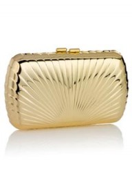 Accessorize Metal Shell Gold Clutch Bag