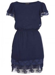 River Island navy chiffon lace dress