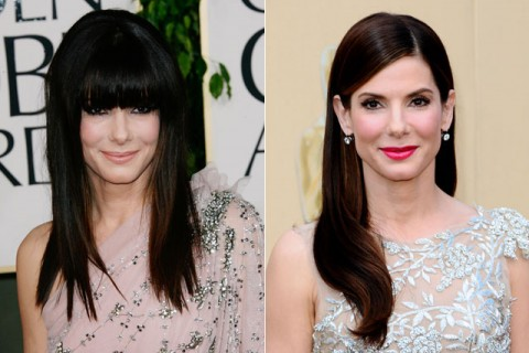 Sandra Bullock - celebrity fringes - hairstyles