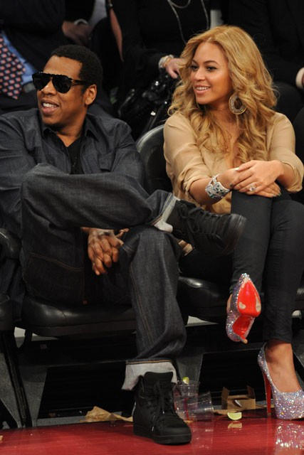 Jay-Z and Beyonce at the NBA All-Star Game