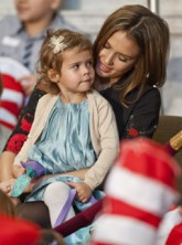 Jessica Alba - Jessica Alba and daughter Honour afternoon book club outing - Jessica Alba - Honor Marie - Read Across America Day - Michelle Obama - Celebrity News - Marie Claire UK - Marie Claire