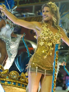 Gisele Bundchen - Rio, Carnival, see, pics, pictures, photos, float, festival, gold, dress, minidress, supermodel, Rio de Janeiro, Sao Paulo, 2011, celebrity, Gisele, Marie Claire