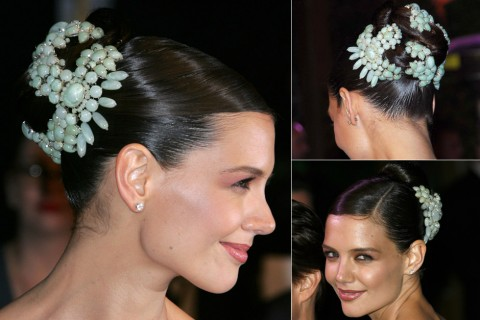 Katie Holmes - Best Celebrity Updos, hair, up do, updo, formal, party, wedding, hair, inspiration, ideas, beauty, hairstyles, Marie Claire