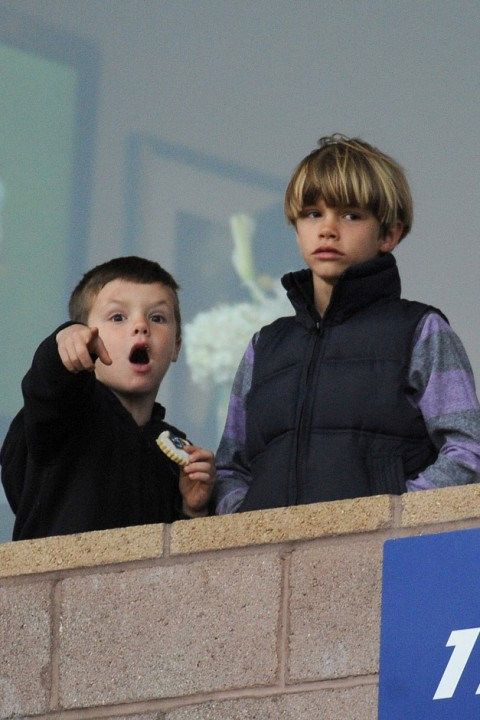 Cruz and Romeo Beckham - David Beckham, The Beckhams, Victoria Beckham, pregnant, watch, watching, supporting, LA Galaxy, game, box, see, pics, pictures, Marie Claire