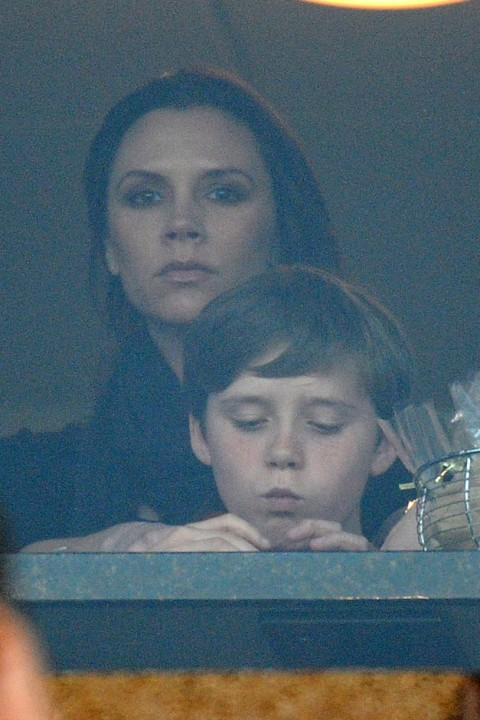 Victoria and Brooklyn Beckham - David Beckham, The Beckhams, Victoria Beckham, pregnant, watch, watching, supporting, LA Galaxy, game, box, see, pics, pictures, Marie Claire