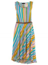 Miss Selfridge Stripe Drop Back Belt Dress